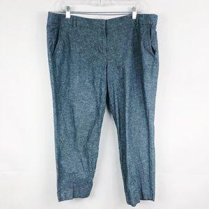 J. Crew | Blue Gray Linen Cotton Blend Ankle Pants